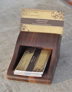 Business Card Holder In Walnut By 50splinters On Etsy 32 00 Wooden