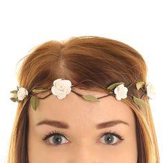 Small White Roses Hair Garland