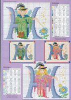 Fairy Alphabet -H Cross Stitch Alphabet Patterns, Cross Stitch Letters, Cross Stitch Books, Cross Stitch Cards, Cross Stitching, Cross Stitch Embroidery, Embroidery Patterns, Stitch Patterns, Stitch And Angel