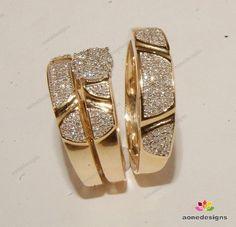 Men And Ladies Diamond 14K Yellow Gold Trio Set 0.50 Ct Wedding /Engagement Ring #aonedesigns