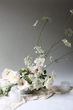 Garden roses and queen Anne's Lace. Romantic and modern.
