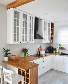 35 suprising small kitchen design ideas and decor 23 - Küche Ideen Home Decor Kitchen, New Kitchen, Kitchen Dining, Kitchen Cabinets, Kitchen Small, White Cabinets, Small Kitchen Designs, Compact Kitchen, Rustic Kitchen