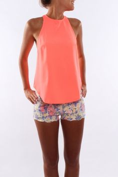 Bella Top Neon Coral
