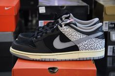 Nike Dunk Low Jordan 3 III 304714 905 Supreme Black Cement CL Size 10.5  Jordunk #