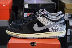 Nike Dunk Low Jordan 3 III 304714 905 Supreme Black Cement CL Size 10.5 Jordunk #Nike #Skateboarding