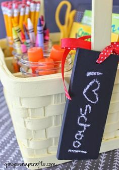 chalky paint chalkboard back to school tag & basket