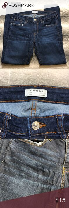 """Zara Premium Denim Collection Jeans These are ok condition Zara Premium Denim Collection Jeans. There are crimps on the front (see photos) and some general wear and tear. If you are looking for a great deal this is it.   Waist 29"""" Back Rise 14"""" Front Rise 8.5"""" Inseam 28"""" Zara Jeans"""