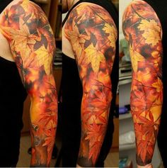 Autumn leaves tattoo, awesome sleeve, almost looks like camo!