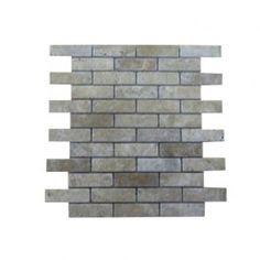 1x2 Noche Tumbled Bricks Mesh-Mounted Travertine Mosaic Tiles. #Brick_mosaic, #Travertine, #Noche