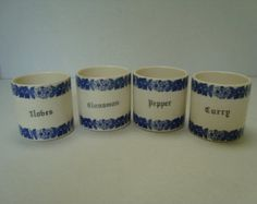 A DUBLIN FIND:  Set of Four Blue/Cream Spice Jars -    Edit Listing  - Etsy