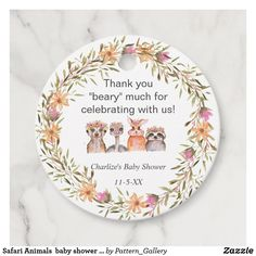 Safari Animals baby shower thank you Favor Tags Baby Shower Thank You, Baby Shower Invites For Girl, Baby Shower Invitations, Rustic Invitations, Zazzle Invitations, Safari Animals, Baby Animals, Brown Paper Packages, Favor Tags