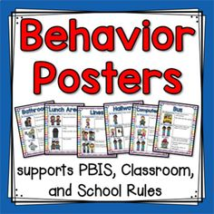 """I use these Behavior Posters every day in my classroom. I have them displayed on a bulletin board near our door so that we can have a """"quick check"""" moment before we head to other areas of our school. I have also printed these posters, laminated them, and bound them into a book to use for"""