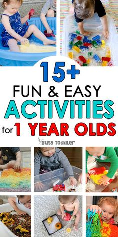 BABY ACTIVITIES FOR 1 YEAR OLDS: Easy activities for young toddlers; perfect for 18 month olds; easy activities for tabies; easy toddler activities from Busy Toddler Activities For 5 Year Olds, Fun Indoor Activities, Indoor Activities For Toddlers, Toddler Learning Activities, Infant Activities, 1year Old Activities, Family Activities, Childcare Activities, Motor Activities