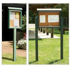 """JAYHAWK PLASTICS Outdoor Message Centers - Cedar by JAYHAWK PLASTICS. $249.00. JAYHAWK PLASTICS Outdoor Message Centers clearly display hours of operation, park permits, and other important messages. Message boards have durable 100% post-consumer recycled plastic frames that will not rot, splinter, decay or crack. Withstands harsh outdoor elements. Shatter-resistant clear plastic sliding doors lock to keep out vandals. 4x4"""" resinwood posts. Cork board. NOTE: One-side, one-post..."""
