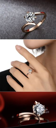 round rose and diamand moissanite engagement ring #weddingring #DazzlingDiamondEngagementRings