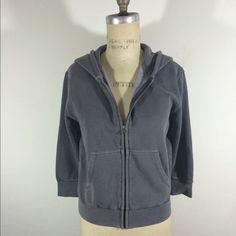 "Hank Player 3/4"" Sleeve Zip Front Hoodie Sz S Body Length 21"", bust 38"", sleeve length 35"". Sweatshirt material. Tops Sweatshirts & Hoodies"