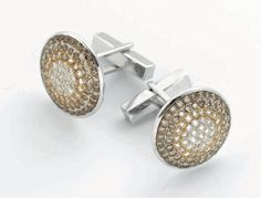 Carolyn Rodney Flying Saucer Cufflinks - 18k white gold, white, champagne and brown diamonds.
