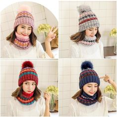 New Scarves Winter Warm Beanie knitted Caps Beanie Cap Hooded Hats Scarf  Suits  fashion   5059ed27067e
