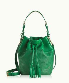 Kelly Green Jenn Bucket Bag | Natural Grain and Embossed Python Leather | GiGi New York