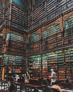 These 20 Libraries Around the World Look Like a Harry Potter Set Biblioteca Real Gabinete Portugues de Leitura Beautiful Library, Dream Library, Library Books, Magical Library, Reading Books, Reading Lists, Appartement New York, Harry Potter Set, Harry Potter Library