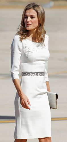 Crown Princess Letizia of Spain greets Dutch King Willem-Alexander and Queen Maxima at the airport as they couple makes an introductory visit to Spain 9/18/2013