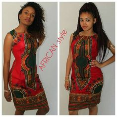 Red wax dashiki pencil sleeveless dress  the wax n is not a spandex material.