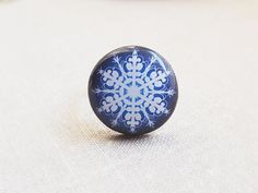 White Snowflake Ring Navy Blue Ring Winter Jewelry Christmas Gifts