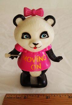 1980s Retro Pammy Panda Shirt Tales Wind Up Walker Figure Plastic Toy FreeUSship #Galoob