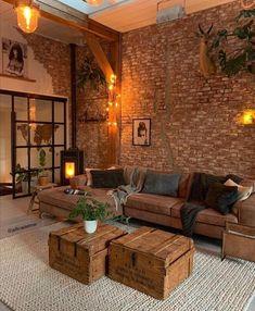 Living Room Interior, Home Living Room, Living Room Designs, Living Room Decor, Living Spaces, Living Room Brick Wall, Bedroom Decor, Cozy Living Room Warm, Hippie Living Room