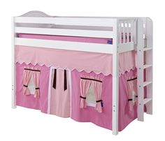 pink loft bed | Maxtrix Hot Pink/Light Pink/Brown Curtain for Mid Height Loft Bed