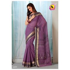 Saree Purple Colour in Cotton. Machine Embroidery. 6231 - Online Shopping for Cotton Sarees by Muhenera
