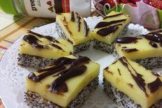 Retete Culinare - Prajitura cu mac si crema de vanilie Falafel, Cheesecake, Deserts, Mac, Cooking Recipes, Homemade, Food, Home Made, Cheesecakes