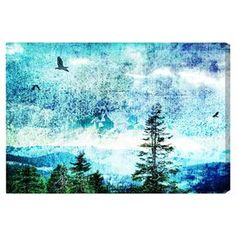 Canvas print with a mountain landscape and flying birds. Made in the USA.   Product: Wall artConstruction Material: Cotton canvas and woodFeatures:  Limited open edition with certificate of authenticity by the artistMade in USAReady to hang with all hardware included Cleaning and Care: Dust lightly using a soft, clean, lint-free cotton