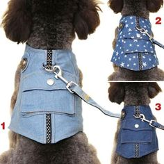 Dog Denim Vest/Harness with Leash #DogHarness