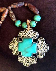 "The new ""Sedona"" pendant from Maverick Rose Jewelry's faux tooled leather line. #resinjewelry #westernjewelry #handmadejewelry #cowboysandindians"