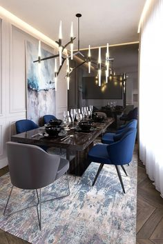 Get inspired by these dining room decor ideas! From dining room furniture ideas, dining room lighting inspirations and the best dining room decor inspirations, you'll find everything here! Dining Room Lamps, Luxury Dining Room, Dining Room Sets, Living Room Lighting, Dining Room Design, Bedroom Chandeliers, Chandeliers Modern, Pendant Lamps, Pendant Chandelier