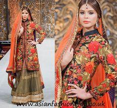Orange and black floral jacket style lengha by  Ayesha Aejaz at PFW6 London
