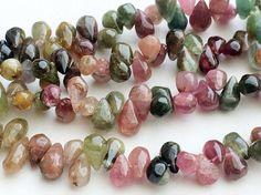 Multi Tourmaline Tear Drop Beads Raw Multi by gemsforjewels