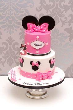 Mini Mouse Birthday Cake, Mickey Mouse Clubhouse Cake, 1st Birthday Cake For Girls, Birthday Wishes Cake, Baby Birthday Cakes, Minnie Birthday, Minnie Mouse Cake Decorations, Minnie Cake, Pastel Mickey