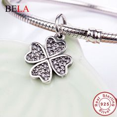 Sterling Silver charms filled white Clear CZ Four-Leaf Clover