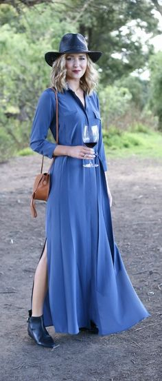 whether youre headed to a vineyard in napa or a local winery this slate blue silk maxi shirtdress is where its at - Napa Styles