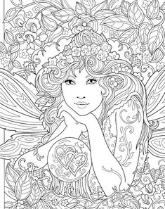 Angel Coloring Pages, Printable Adult Coloring Pages, Colouring Pages, Coloring Books, Colouring Sheets For Adults, Fairy Drawings, Art Drawings Sketches Simple, Line Art Projects, Mandala Coloring