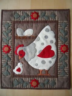 Chicken Quilt Patterns for Beginners - Bing images Mini Quilts, Small Quilts, Applique Patterns, Applique Quilts, Quilt Patterns, Wool Applique, Quilting Projects, Quilting Designs, Sewing Projects