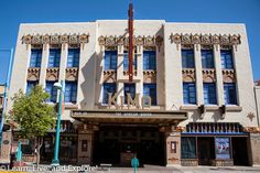 KiMo Theater, Albuquerque NM Designed to combine the local pueblo style with the popular art deco of the time, the KiMo was built in 1927 to show both movies and live performances.  The KiMo you see today has been completely restored after a devastating fire in 1961. It is decorated with tribal designs and decorations from the local New Mexican tribes.