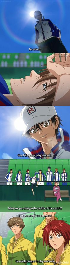 Prince of Tennis Semi Finals. Echizen telling Fuji-senpai to be serious. jme