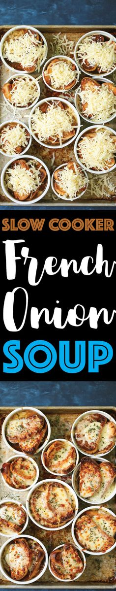 Slow Cooker French Onion Soup - Did you know you can make French onion soup in the crockpot?! It's ridiculously easy with basically no stirring and no work!