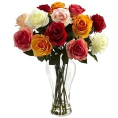 Assorted Blooming Roses with Vase by Nearly Nat ural Rosen Arrangements, Silk Flower Arrangements, Faux Flowers, Silk Flowers, Pretty Flowers, Summer Flowers, Silk Plants, Flower Plants, Rose Vase