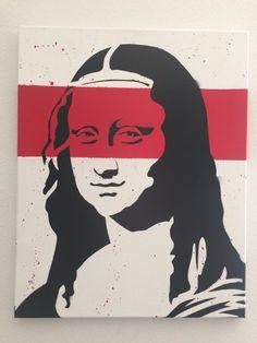 Items similar to Mona Lisa w/Red Stripe - Street Art - Hand cut Stencil - Spray Paint - Pop art on Etsy Stencil Graffiti, Stencil Art, Graffiti Art, Stencils, Tea Cafe, Nice Art, Spray Painting, Creative Art, Pop Art