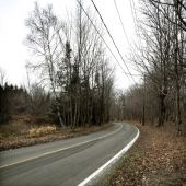 Twisting Open Road  Cold Autumn Day