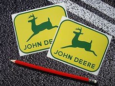 2 x john #deere stickers decals farming #tractor crops #agriculture,  View more on the LINK: http://www.zeppy.io/product/gb/2/131074490685/